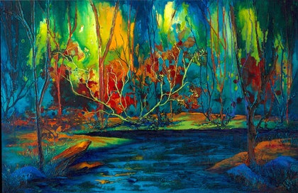 (CreativeWork) Forest of Colours by julia Godfree. mixed-media. Shop online at Bluethumb.