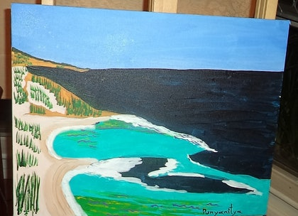 (CreativeWork) Sand Dunes By The Ocean by Anita Punyanitya. arcylic-painting. Shop online at Bluethumb.