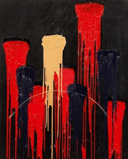 (CreativeWork) Red Tears by Maree Wilkinson. arcylic-painting. Shop online at Bluethumb.