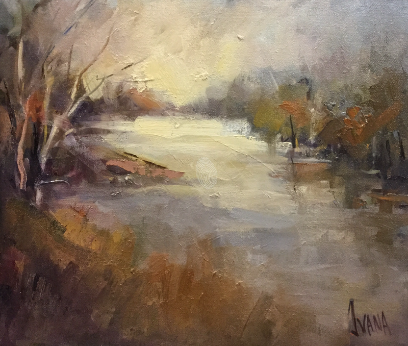 (CreativeWork) Autumn reflections  by Ivana Pinaffo. oil-painting. Shop online at Bluethumb.