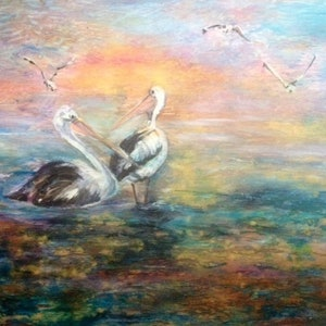(CreativeWork) Pelicans at Play by Bronwyn Hastings. mixed-media. Shop online at Bluethumb.