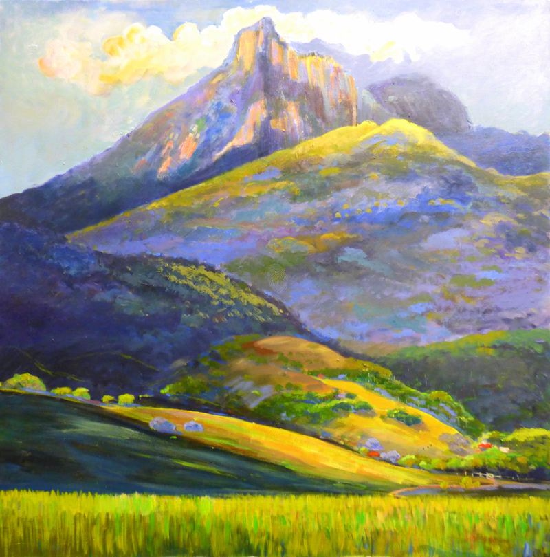 (CreativeWork) Mt Warning In Springtime  by Virginia McGowan. oil-painting. Shop online at Bluethumb.