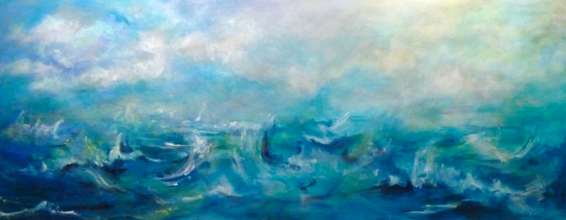(CreativeWork) Sea 2 Sky by Cathy Gilday. arcylic-painting. Shop online at Bluethumb.