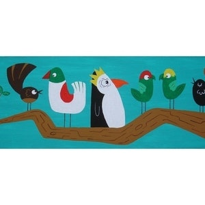 (CreativeWork) Birds In  A Tree by Onno Knuvers. arcylic-painting. Shop online at Bluethumb.
