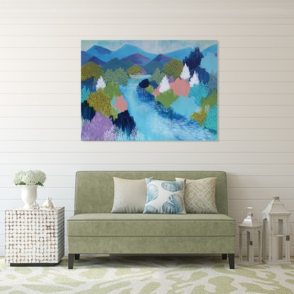 (CreativeWork) Summer Hills by Clair Bremner. Acrylic Paint. Shop online at Bluethumb.
