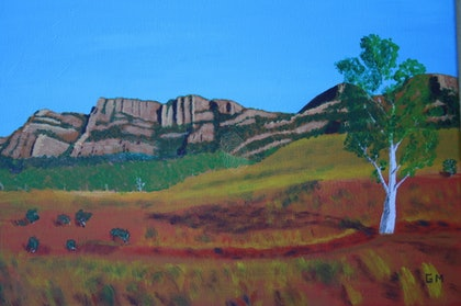 (CreativeWork) Wilpena Pound by MARTIN GEOFFREY MORAN. arcylic-painting. Shop online at Bluethumb.