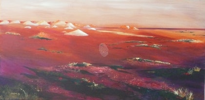 (CreativeWork) Red Dusk, Coober Pedy by Susan Chacksfield. arcylic-painting. Shop online at Bluethumb.