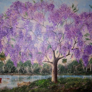 (CreativeWork) Jacaranda Jetty by Rex Woodmore. arcylic-painting. Shop online at Bluethumb.