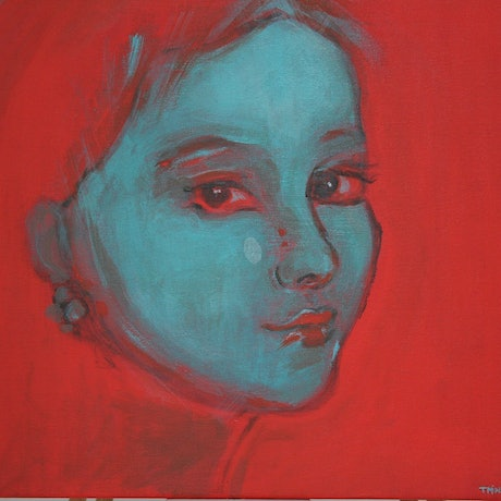 (CreativeWork) Blue Ingenue by Tanya Pink. Acrylic Paint. Shop online at Bluethumb.