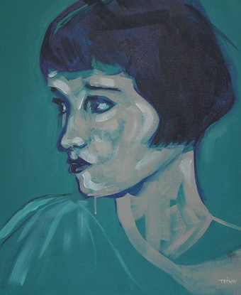 (CreativeWork) Louise in Green by Tanya Pink. Acrylic Paint. Shop online at Bluethumb.