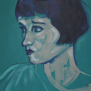 (CreativeWork) Louise in Green by Tanya Pink. arcylic-painting. Shop online at Bluethumb.