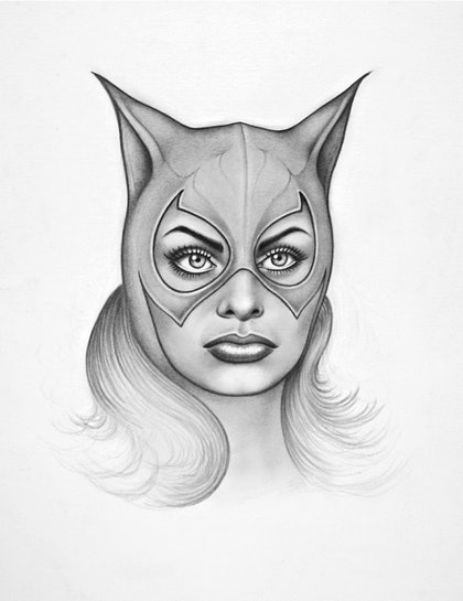 (CreativeWork) Sophia as Catwoman by PHILIP GRAY. drawing. Shop online at Bluethumb.