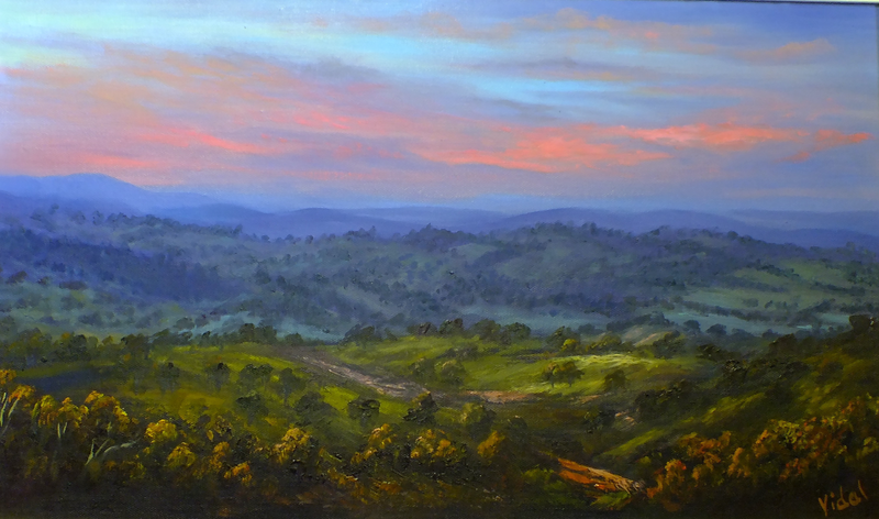 (CreativeWork) When the night falls - near Bathurst NSW by Christopher Vidal. oil-painting. Shop online at Bluethumb.
