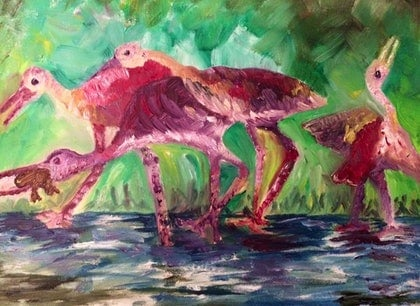 (CreativeWork) Hunter Birds by Faiza Hassan. oil-painting. Shop online at Bluethumb.