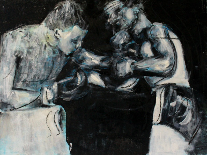 (CreativeWork) Boxers by Alexander Carletti. oil-painting. Shop online at Bluethumb.