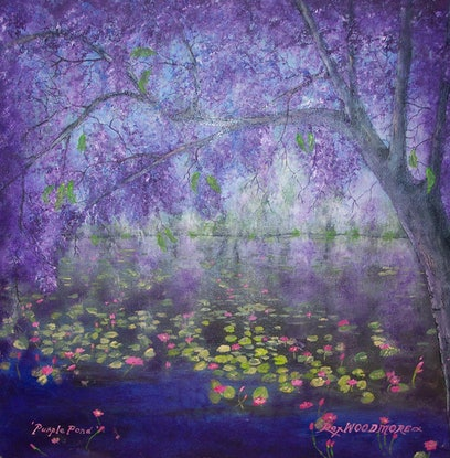 (CreativeWork) Purple Pond by Rex Woodmore. #<Filter:0x00007f5a0923f838>. Shop online at Bluethumb.