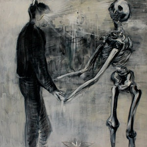 (CreativeWork) Holding Hands With Death by Alexander Carletti. oil-painting. Shop online at Bluethumb.