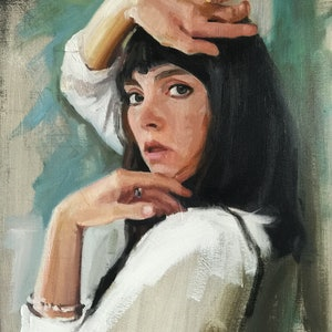 (CreativeWork) Molly and the green wall by Chris Martin. oil-painting. Shop online at Bluethumb.