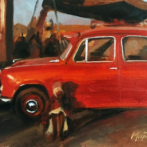 (CreativeWork) Oxford Red by Chris Martin. oil-painting. Shop online at Bluethumb.