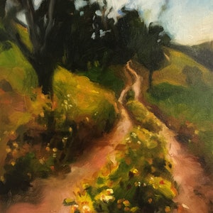 (CreativeWork) Winding Lane by Chris Martin. oil-painting. Shop online at Bluethumb.