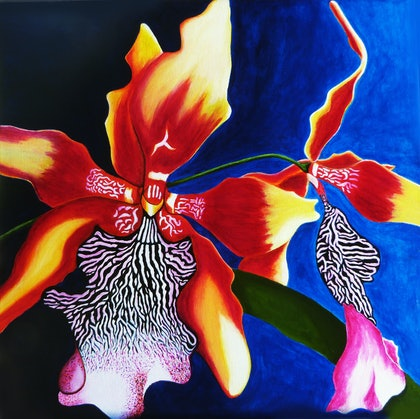 (CreativeWork) Exotic Flowers 2 by Rick Lowe. arcylic-painting. Shop online at Bluethumb.