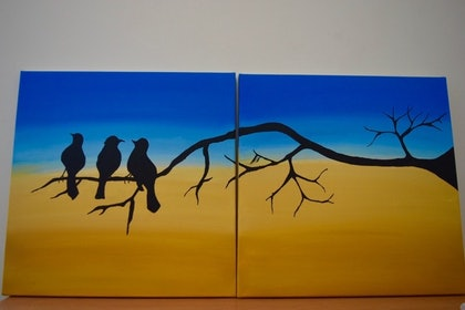 (CreativeWork) Birds by Tahmina Sultana. arcylic-painting. Shop online at Bluethumb.