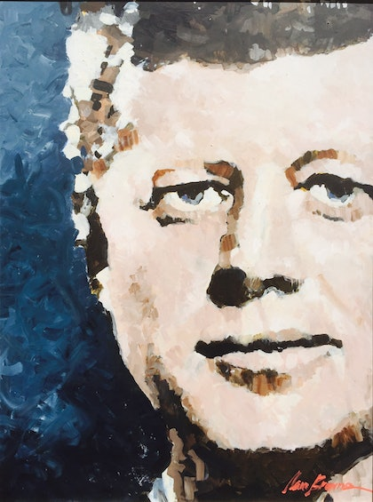 (CreativeWork) JFK by Sam Browne. oil-painting. Shop online at Bluethumb.