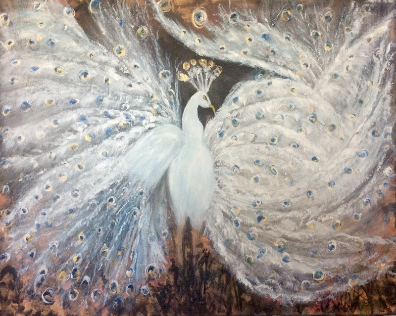 (CreativeWork) Following Bliss, Ethereal White Peacock, Ready to Hang 60x75x1.5 by Louise Croese. arcylic-painting. Shop online at Bluethumb.