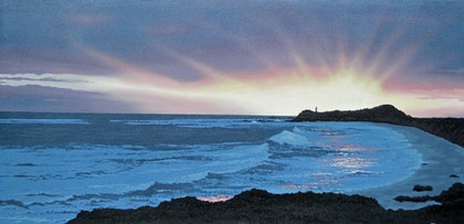 "(CreativeWork) ""Sunset"" at Robe S.A.  by Terence Mead. arcylic-painting. Shop online at Bluethumb."