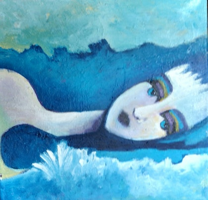 (CreativeWork) The Swimmer by kezz hall. arcylic-painting. Shop online at Bluethumb.