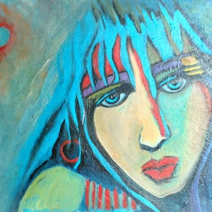 (CreativeWork) Woman No.2 by kezz hall. arcylic-painting. Shop online at Bluethumb.