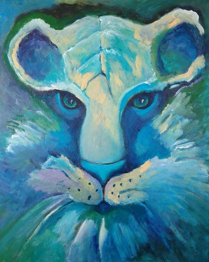 (CreativeWork) Tiger Blue by kezz hall. arcylic-painting. Shop online at Bluethumb.