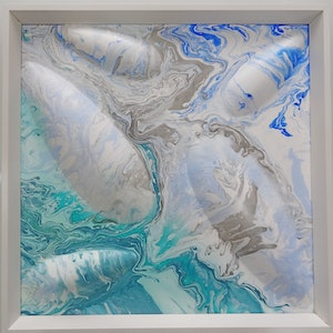 (CreativeWork) Australian Coastline Series : River Meets The Sea by Eren Y. arcylic-painting. Shop online at Bluethumb.