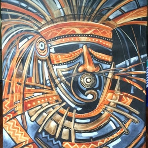 (CreativeWork) Indigenous 2 by sue bannister. oil-painting. Shop online at Bluethumb.