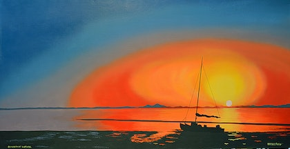 "(CreativeWork) ""Dawn"" at Corner Inlet, Wilsons Promontory. by Terence Mead. arcylic-painting. Shop online at Bluethumb."
