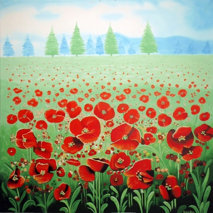 "(CreativeWork) ""Poppies"" a Large Vibrant Painting, Acrylics on Canvas.  by Terence Mead. arcylic-painting. Shop online at Bluethumb."