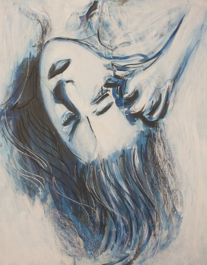 (CreativeWork) Blue Muse  by Alexander Carletti. oil-painting. Shop online at Bluethumb.