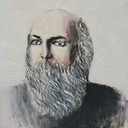 (CreativeWork) Osho  by Alexander Carletti. oil-painting. Shop online at Bluethumb.