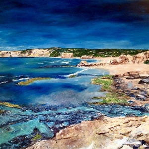 (CreativeWork) Coves and Secret Places by Renia Lakomy Edwards. arcylic-painting. Shop online at Bluethumb.