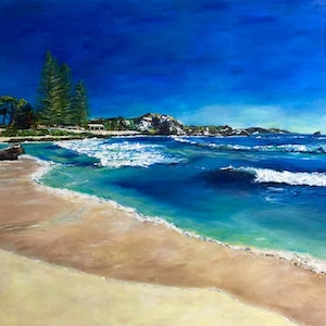 (CreativeWork) The Basin, Rottnest Island by Renia Lakomy. arcylic-painting. Shop online at Bluethumb.