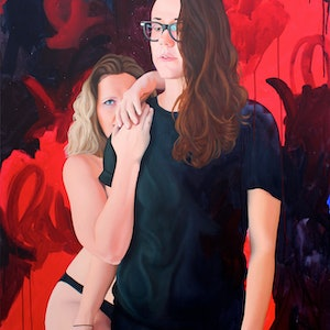 (CreativeWork) Bec & G by Kim Leutwyler. oil-painting. Shop online at Bluethumb.