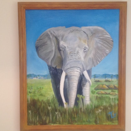 (CreativeWork) The dentist by Trevor Grant. oil-painting. Shop online at Bluethumb.