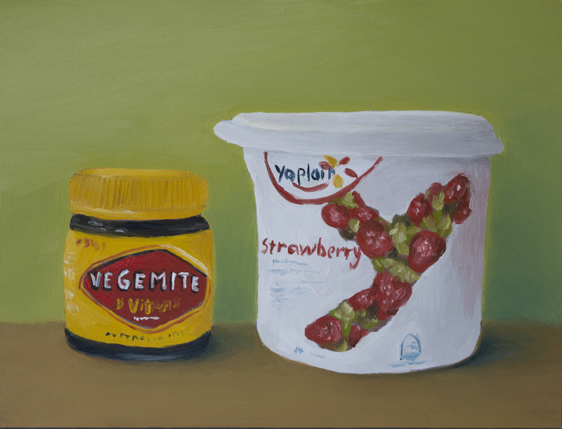 (CreativeWork) Strawberry Yoplait and Vegemite by Damien Venditti. oil-painting. Shop online at Bluethumb.