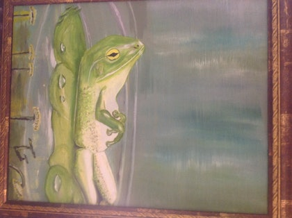 (CreativeWork) FIFO frog by Trevor Grant. oil-painting. Shop online at Bluethumb.