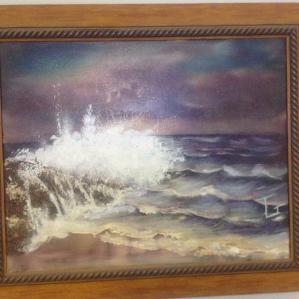 (CreativeWork) Night at the beach by Trevor Grant. oil-painting. Shop online at Bluethumb.