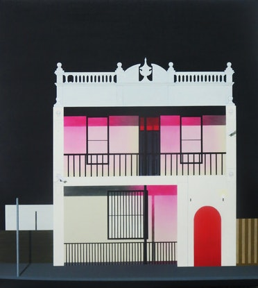 "(CreativeWork) ""The blushing building"" by David Rellim. Oil Paint. Shop online at Bluethumb."