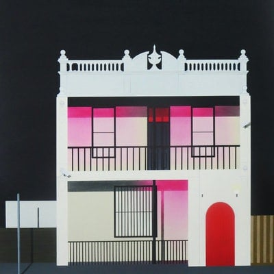 "(CreativeWork) ""The blushing building"" by David Rellim. oil-painting. Shop online at Bluethumb."