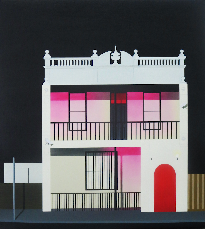 """(CreativeWork) """"The blushing building"""" by David Rellim. oil-painting. Shop online at Bluethumb."""