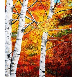 (CreativeWork) Birch Autumn by Danny Bradley. arcylic-painting. Shop online at Bluethumb.