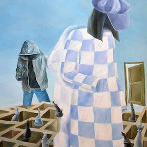 (CreativeWork) Faceless - checkmate  - original oil on stretched canvas painting, ready to hang by Yelena Revis. oil-painting. Shop online at Bluethumb.